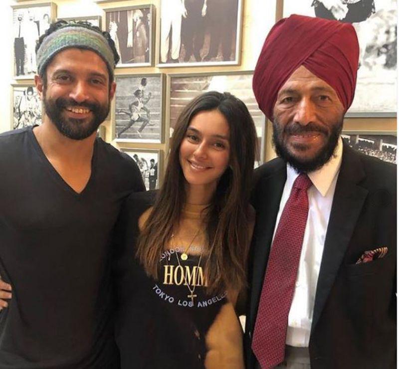 Shibani Dandekar with Farhan Akhtar and Milkha Singh