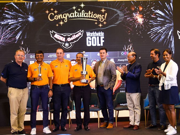 Deepak Jain, Craig Vance, Ashok Kumar and Rick Bevan with the trophy after winning the EAGL Mini-Series at Fire Course on Jumeirah Golf Estates