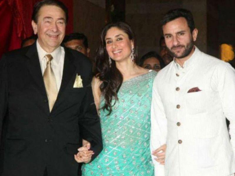 Kareena Kapoor, Randhir Kapoor and Saif Ali Khan