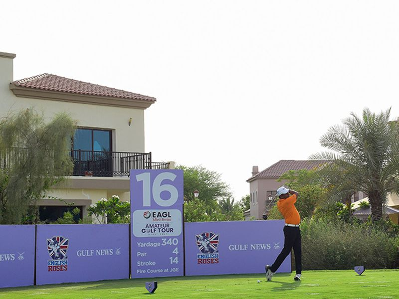 MENA Golfers' Deepak Jain during EAGL Mini-Series on the Fire course at Jumeirah Golf Estates. Photo: