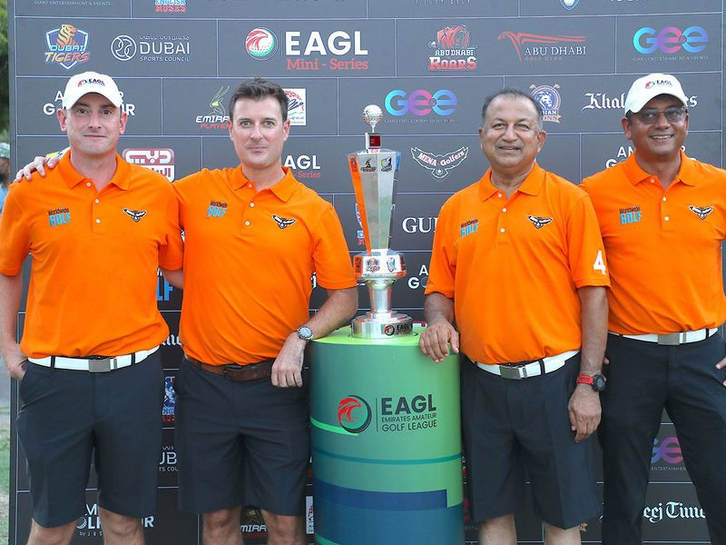 MENA Golfers with the EAGL Mini-Series trophy