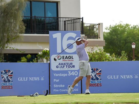 Mark Rix of English Roses in action at the EAGL Mini-Series on the Fire Course, Jumeirah Golf Estates