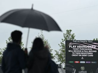 A scoreboard announces the abandonment of the day's play due to the rain on the fourth day of the ICC World Test Championship Final between New Zealand and India at the Ageas Bowl in Southampton
