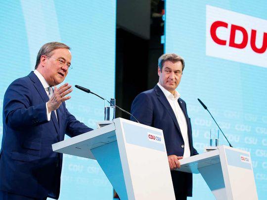 Christian Democratic Union (CDU) leader Armin Laschet and Christian Social Union (CSU) leader Markus Soeder