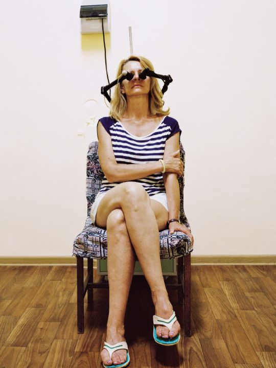 Ultra-high frequency therapy at the White Nights sanatorium, to relieve sinusitis and also tone the skin.  Sochi, Russia