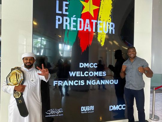 Ahmed Bin Sulayem welcomes Francis Ngannou to DMCC