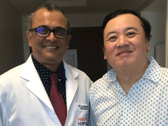 Dr Sanjay Bhat with patient Armand Castaneda-1624599150935