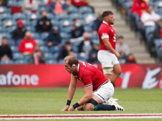 British & Irish Lions' Alun Wyn Jones goes down injured against Japan