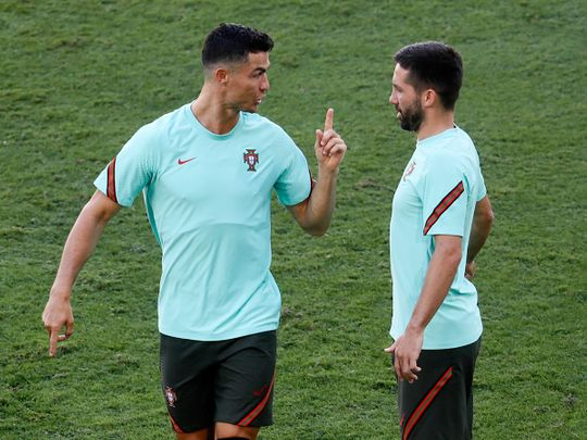 Cristiano Ronaldo calls the shots during training for Portugal