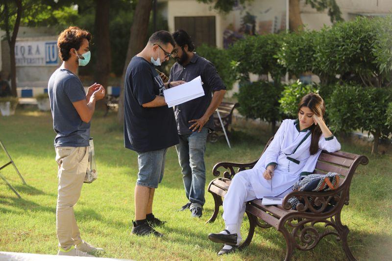Director Haseeb Hasan and Sajal Ali at the shoot of Dhoop Ki Deewaar-1624702225813