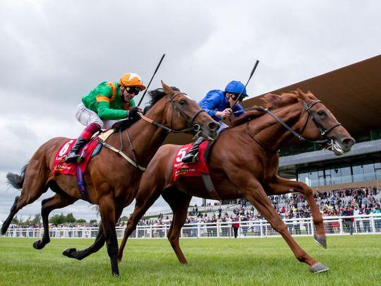 Hurricane Lane wins the Dubai Duty Free Irish Derby under William Buick