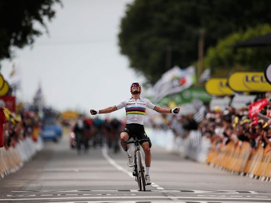 Julian Alaphilippe wins the first stage of the Tour de France