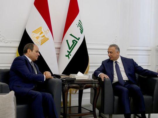 Iraqi Prime Minister Mustafa Al Kadhimi (right) meets Al Sissi in Baghdad.