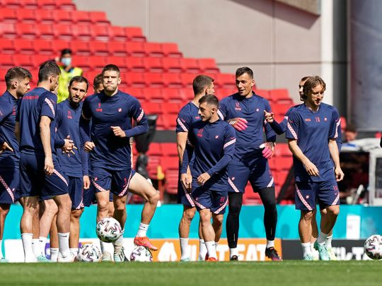 Luka Modric, right, and the Croatia team during training ahead of the Spain clash