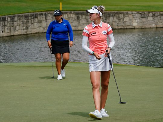 Nelly Korda, front, and Lizette Salaslead the way in the Women's PGA Championship
