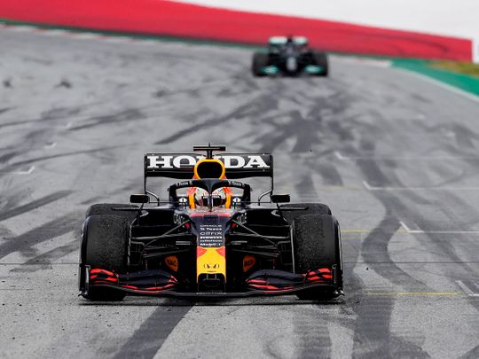 Red Bull's Max Verstappen leaves Lewis Hamilton trailing in the Styrian Grand Prix
