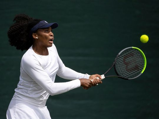 Venus Williams practises on ahead of the Wimbledon Tennis Championships in London