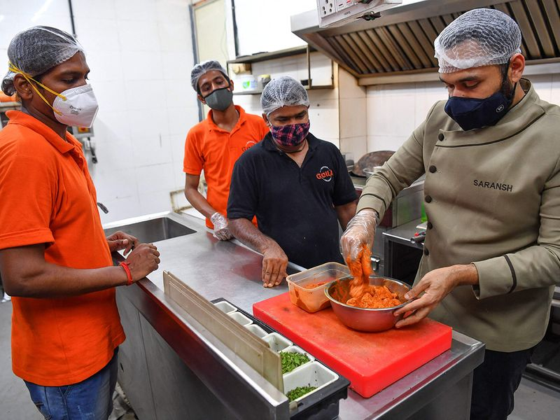 Chef Goila and his staff at work