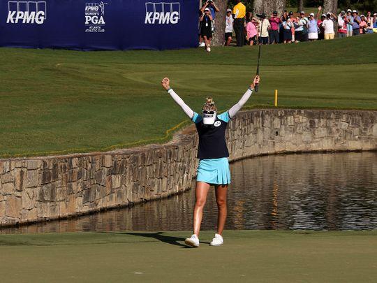 Nelly Korda celebrates her PGA Championship win