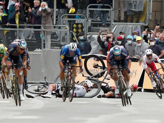 Slovakia's Peter Sagan crashes with Australia's Caleb Ewan during Stage 3 of the Tour de France