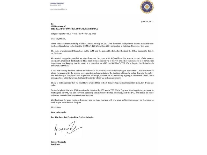 The letter from the BCCI's Sourav Ganguly on the T20 World Cup moving to the UAE