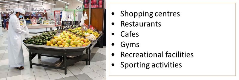 •Shopping centres •Restaurants •Cafes •Gyms •Recreational facilities •Sporting activities