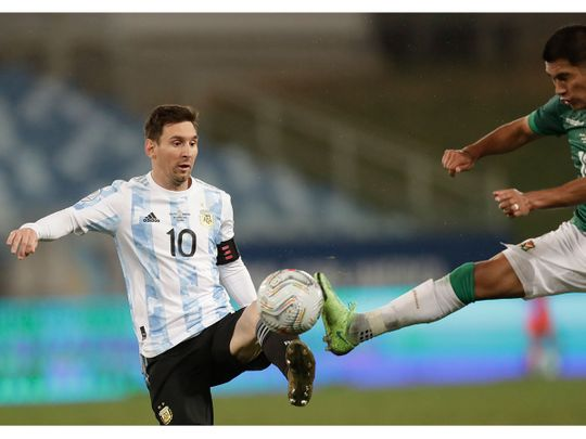 Argentina's Lionel Messi in action against Bolivia