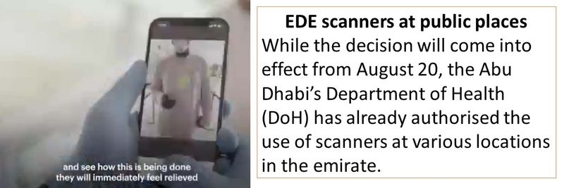 EDE scanners at public places While the decision will come into effect from August 20, the Abu Dhabi's Department of Health (DoH) has already authorised the use of scanners at various locations in the emirate.
