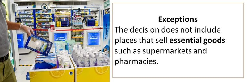 Exceptions The decision does not include places that sell essential goods such as supermarkets and pharmacies.