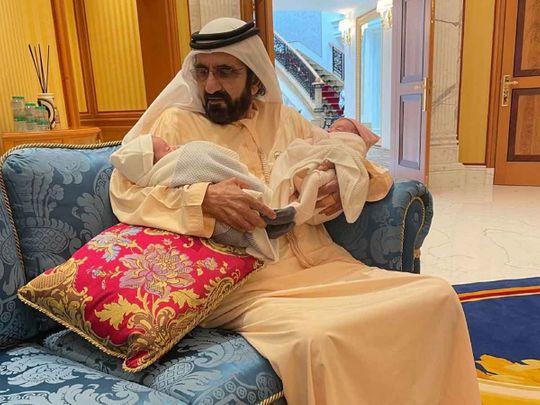 Sheikh Mohammed bin Rashid with the twins