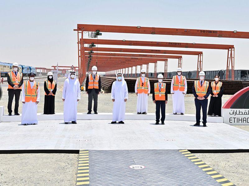 Sheikh Theyab tours Etihad Rail project