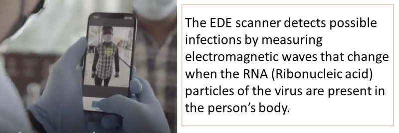 The EDE scanner detects possible infections by measuring electromagnetic waves that change when the RNA (Ribonucleic acid) particles of the virus are present in the person's body.