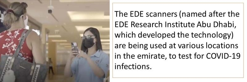 The EDE scanners (named after the EDE Research Institute Abu Dhabi, which developed the technology) are being used at various locations in the emirate, to test for COVID-19 infections.