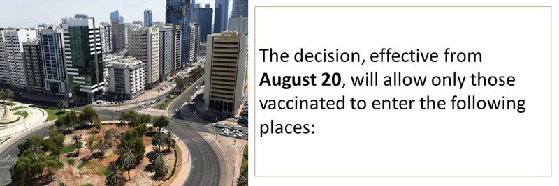 The decision, effective from  August 20, will allow only those vaccinated to enter the following places: