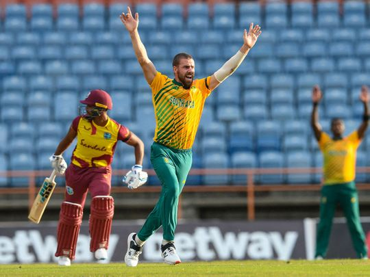 Anrich Nortje of South Africa celebrates during the win over West Indies during the 3rd T20