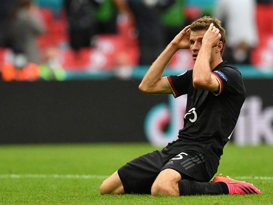 Germany's forward Thomas Mueller knows it's all over now after loss to England