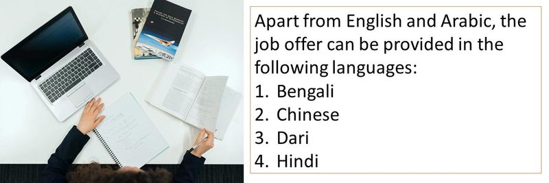 Apart from English and Arabic, the job offer can be provided in the following languages: 1.Bengali 2.Chinese 3.Dari 4.Hindi