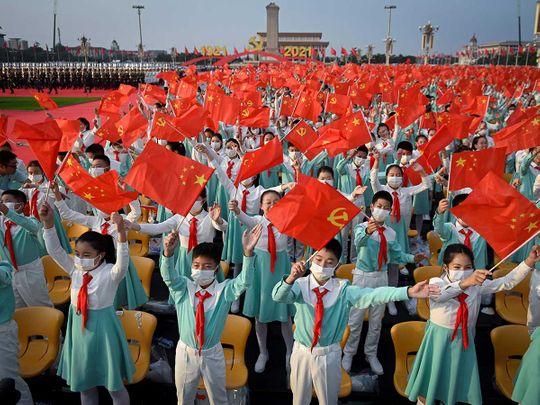 China flag students anniversary