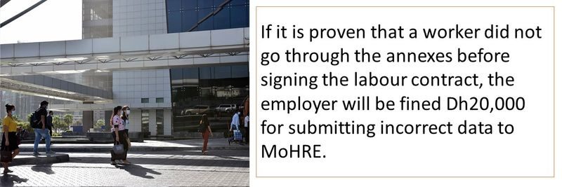 If it is proven that a worker did not go through the annexes before signing the labour contract, the employer will be fined Dh20,000 for submitting incorrect data to MoHRE.