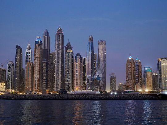 Stock Dubai skyline Creek harbour