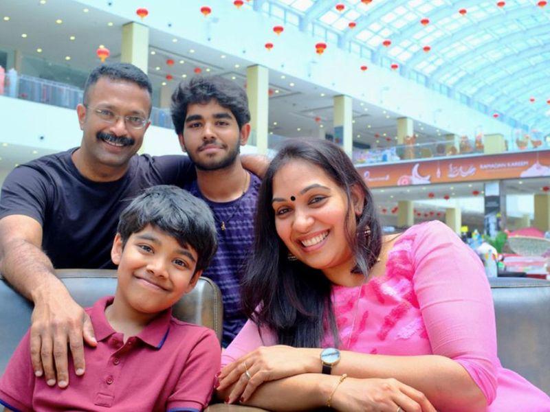 Veena Jan with husband Jan Joshi and sons Avneeth and Aayush.-1625376008422