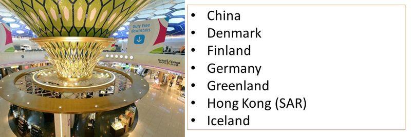 China Denmark Finland  Germany Greenland Hong Kong (SAR) Iceland