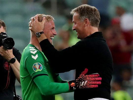 Denmark goalkeeper Kasper Schmeichel and coach Kasper Hjulmand