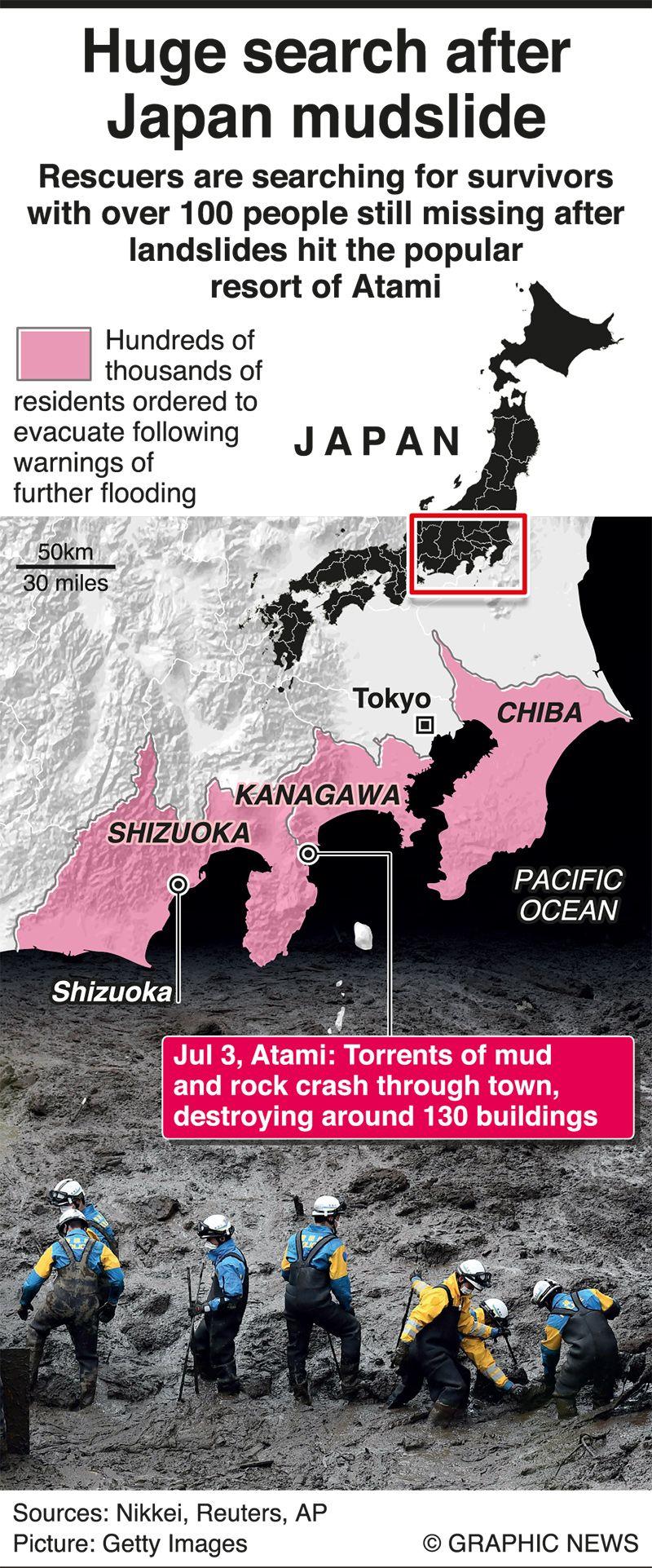 Infographics: Huge search in progress after Japan mudslide