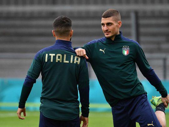 Italy's midfielder Marco Verratti takes part in training ahead of their Euro 2020 semi-final against Spain.