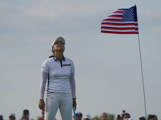 Ko Jin-Young celebrates after winning the Volunteers of America Classic