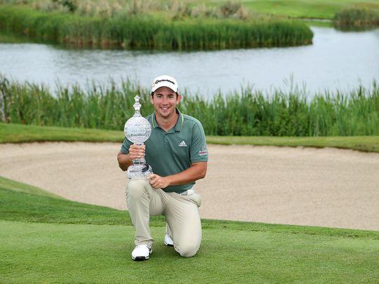 Lucas Herbert with the Dubai Duty Free Irish Open trophy