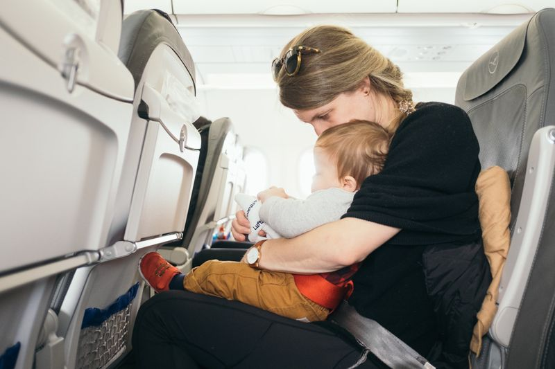 Occupying children during a plane journey
