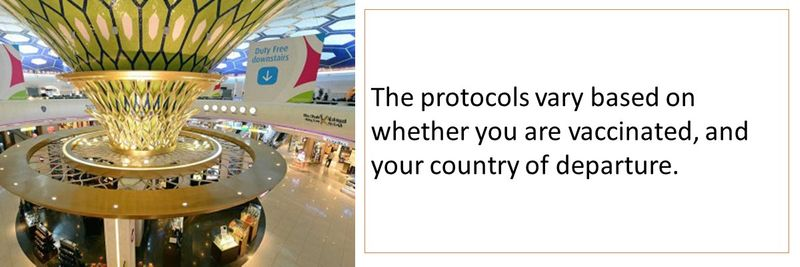 The protocols vary based on whether you are vaccinated, and your country of departure.