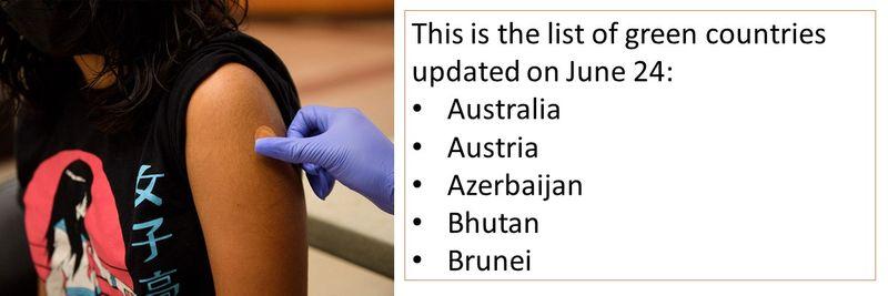This is the list of green countries updated on June 24:  Australia Austria Azerbaijan Bhutan Brunei